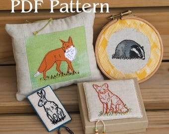 Hand embroidery or applique pattern PDF - British Wildlife - Rabbit, Hare, Fox and Badger