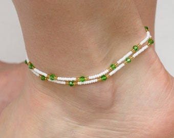 Bohemian Anklet Boho Anklet Gypsy Ankle Bracelet Beaded anklet Beachy anklet Bright anklet Girlfriend Gift for Womens ankle womens gift idea