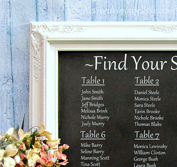 Seating chart display barearsbackyard seating chart display junglespirit Choice Image