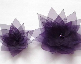 2 Dark Purple Organza Flowers Embellishment