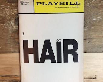 "1969 production of ""HAIR"" original playbill"