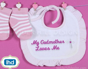 My Godmother Loves Me - Cross Machine Embroidery Design - Easter Embroidery Design REL035B