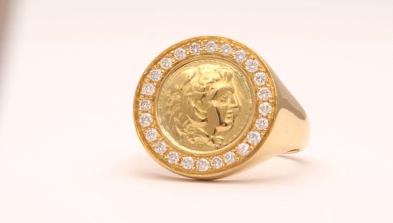 Sovereign Ring Gold Signet Ring Man Gold Ring Alexander The