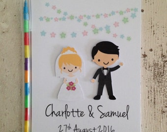 Children's Personalised Wedding Activity Pack A6 Customised Bride & Groom Kids Favour