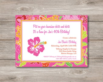 Luau Party Invitation with Editable Text to Print at Home, DIY Luau Invite, Instant Download!