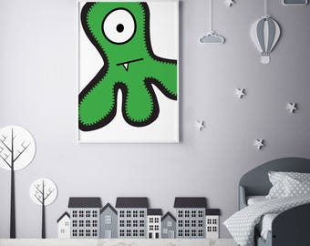 "Monster Poster Print Wall Art by BABUA – ""Tom"" | A4 A3"
