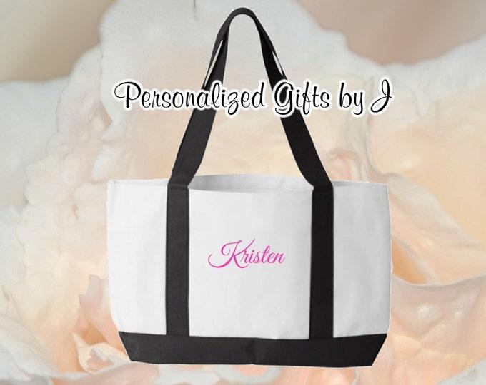 4 Personalized Monogrammed Bridesmaid Bride 2- Color Tote Bags Personalized Tote, Bridesmaids Gift, Monogrammed Tote