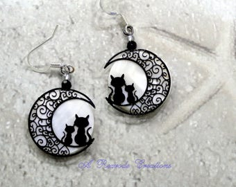 Black Cat Earrings Harvest Moon Jewelry Handmade Cat Lover Jewelry Cat and Moon Earrings Cat Earrings Cat Jewelry Novelty Jewelry Gift Idea