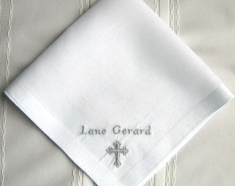 SMALL CROSS HANDKERCHIEF for Boy or Girl, Christening/Baptism, Soft Satin Border, Personalize with Name & Date, All Cotton, Gift Box, 13x13