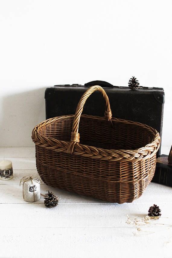 Großer Korb Wäschekorb Lagerung Französisch Weidenkorb für
