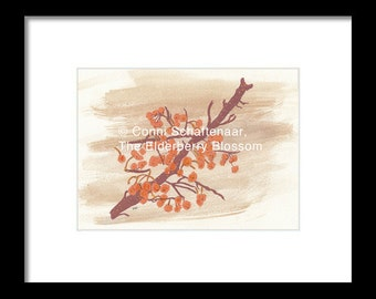 Father's Day Gift Idea Instant Print Download 5x7 Print from Watercolor Painting Orange Berries in Fall for matting and framing