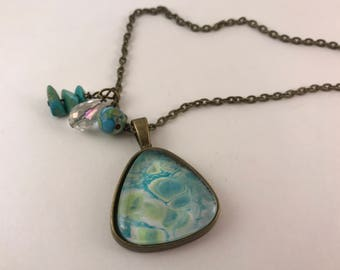 Turquoise/Green/White Antique Bronze Pendant and Necklace