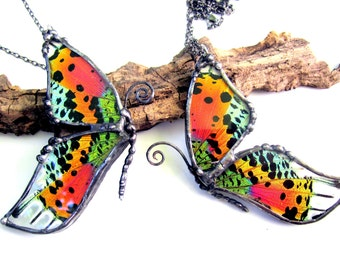 Mother Daughter Friendship Necklace, Madagascan Sunset Moth