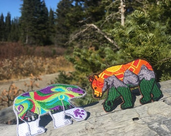 Polar Bear & Grizzly Bear Patch Duo – Set of 2 –  Iron-On and/or Sew-On – Colourful Embroidered Patch