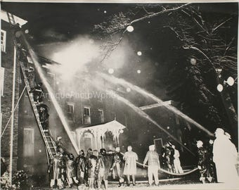Firefighters / house fire vintage photo Tranquille