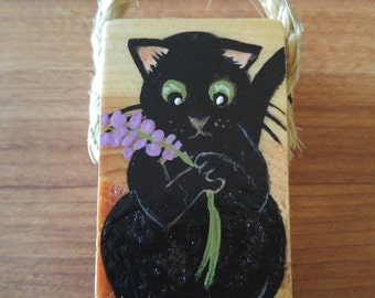 Black cat and lavender painting on small wood piece