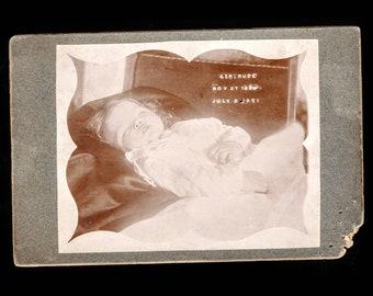 Antique Victorian Era Post Mortem Cabinet Card Photo Little Girl Identified