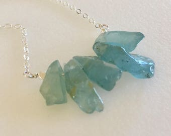 Aquamarine Bar Necklace, Raw Blue Green Aquamarine Nuggets, Polished Aquamarine Gemstones, March Birthstone, Sterling Silver, Gold Fill