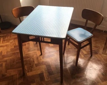 Perfect Mid Century Blue Gingham Formica Topped Dining Table With Matching Chairs  1960s Original   Rare