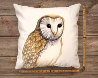 Watercolour Barn Owl Pillow Cover (square) - Super soft and cozy velveteen, with zipper!  Artwork by Alicia's Infinity