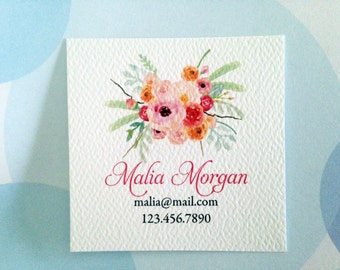 Personalized Floral Business Cards, Custom Business Cards, Set of 48
