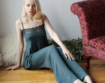 womens bamboo pajama set including the pant and lace trimmed babydoll - NOUVEAU bamboo sleepwear range - made to order