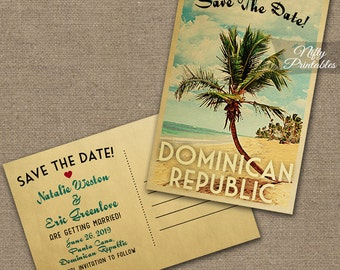 Beach Save The Date Postcard - Palm Tree Save The Date Cards - Printable Retro Wedding Save The Dates - Dominican Republic or Any Beach VTW