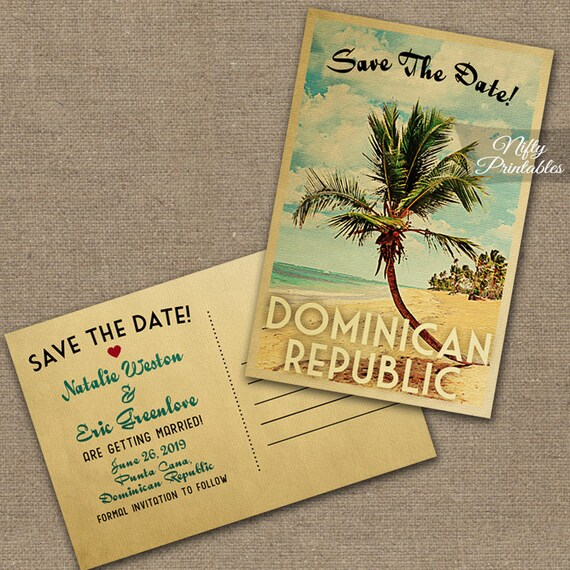 vintage save the date postcard