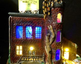 Webster T. Rantula's Silk Mill - Miniature Halloween Village - Hand Made / Light up House / Haunted