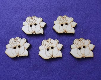 5 buttons, rose, wood, 3 cm  (15-0018A)