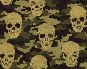 Skulls on Camouflage with Metallic Cotton Fabric #163