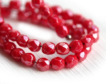 4mm Red czech glass beads Lustered Red faceted fire polished spacers, round beads - 50Pc - 1673