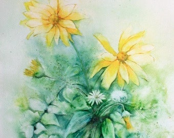 """Watercolor exemplary unique and original """"yellow wild flowers"""", painted in France in Provence, French watercolor creation"""