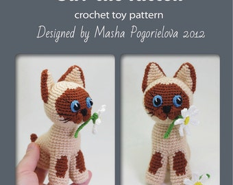 Guv the Kitten - pdf crochet toy pattern - siamese cat amigurumi pattern
