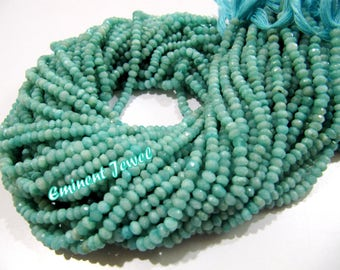 High Quality Genuine Amazonite 3-4mm Size Beads/Rondelle Faceted Amazonite Beads / Strand approx 13 inch long / Semi Precious Gemstone Beads