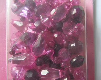 box of 20 g of various faceted beads sizes and shapes