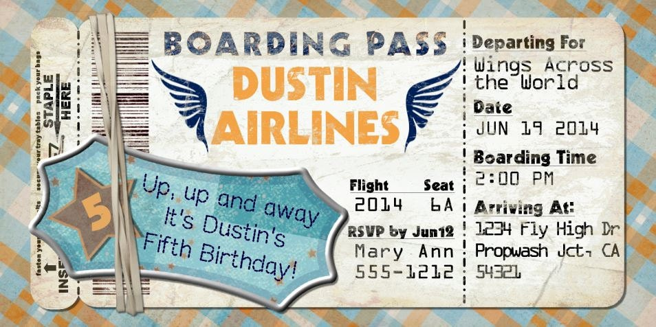 Planes Boarding Pass Invitation For Birthday Party Bon - Bon voyage party invitation template