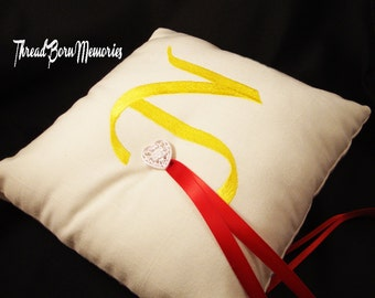Monogrammed Embroidered Rustic Linen Wedding Ring Bearer Pillow - Choose Your Own Color Combinations
