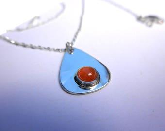 Peach Moonstone Pendant, June Birthstone, Moonstone Pendant, Teardrop Pendant, Peach Moonstone