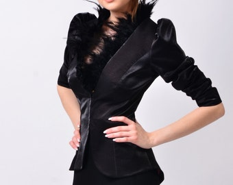Celia couture jacket with natural feathers