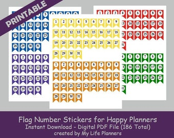 Flag Number Stickers for Happy Planner, Printable Planner Stickers, Number Stickers, MAMBI Happy Planner, PDF Download
