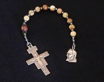 St Padre Pio One decade Catholic Rosary, San Damiano Crucifix, Picture Jasper.