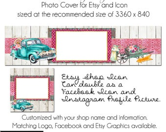 Vintage Truck, Etsy Cover Photo - Add your own Text, Instant Download, Rustic Romance, New Cover Photo For Etsy, Made to Match Graphics