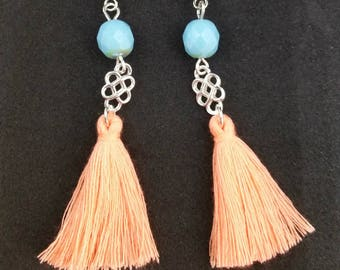 Salmon and blue tassel earrings