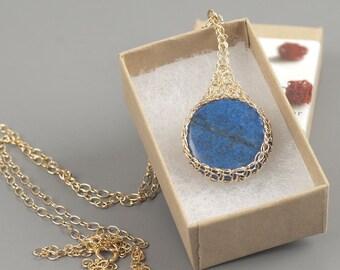 Lapis lazuli pendant necklace,Blue pendant,Round stone pendant,Gold pendant necklace,Lapis lasuli necklace,Blue and gold,Gemstone necklace