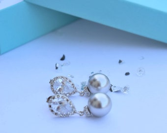 Silver Earrings with Grey Swarovski Pearls (Bridal/Bridesmaid/Made of Honor/Prom/Special Occasion)