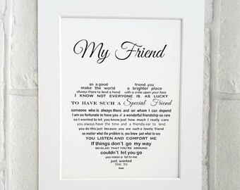 Friend gift, Unframed 10x8 print, Best friend gift, Personalised Friend Gift, Birthday gift for Friend, Friend poem, Friend Christmas Gift