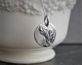 Botanical Necklace, Kentucky Bluegrass Necklace, Plant Necklace, Silver Disk Pendant, Grass Necklace, Prairie Necklace, Small Pendant