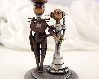RESV for Jennie Nurse Cupcake Wedding Topper Bride Groom Elegant Wedding Momento Space Princess Dress Top Hat Tails Handmade Wood Sculpture