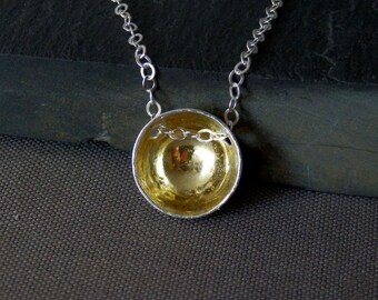 Fine silver, 22k gold necklace / dome pendant / bowl pendant / mixed metals / silver and gold / keumboo jewelry / keum-boo / ready to ship